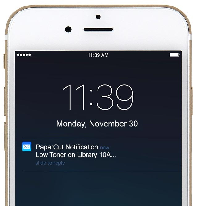 Get timely toner notifications sent from PaperCut NG / MF v15.3
