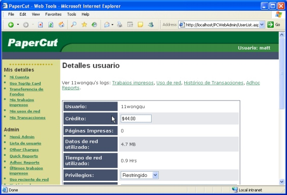 The user web tools interface in Spanish