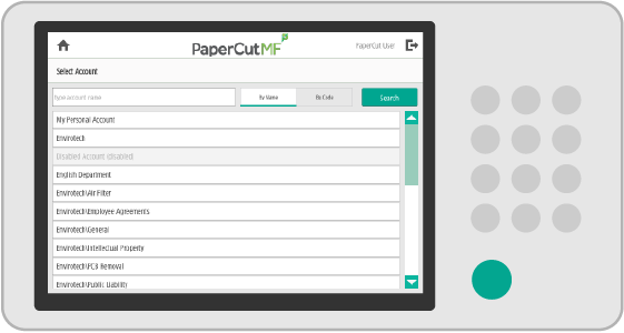 PaperCut MF account selection interface on Canon MFDs.