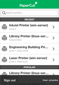 Mobile Release Printer List