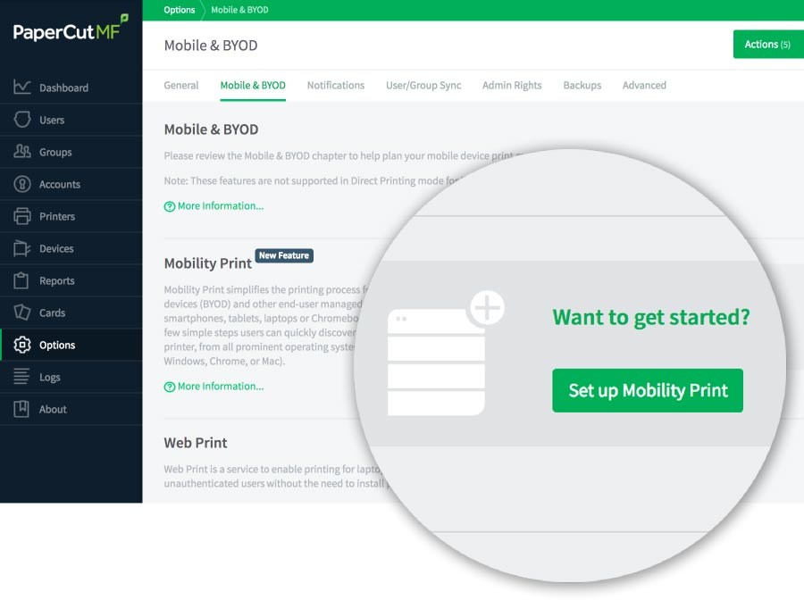 PaperCut Mobile BYOD configuration admin interface.