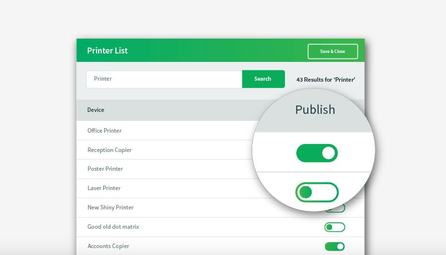 PaperCut Mobility Print printer list interface.
