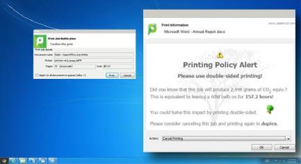 PaperCut Print Policy Alerts