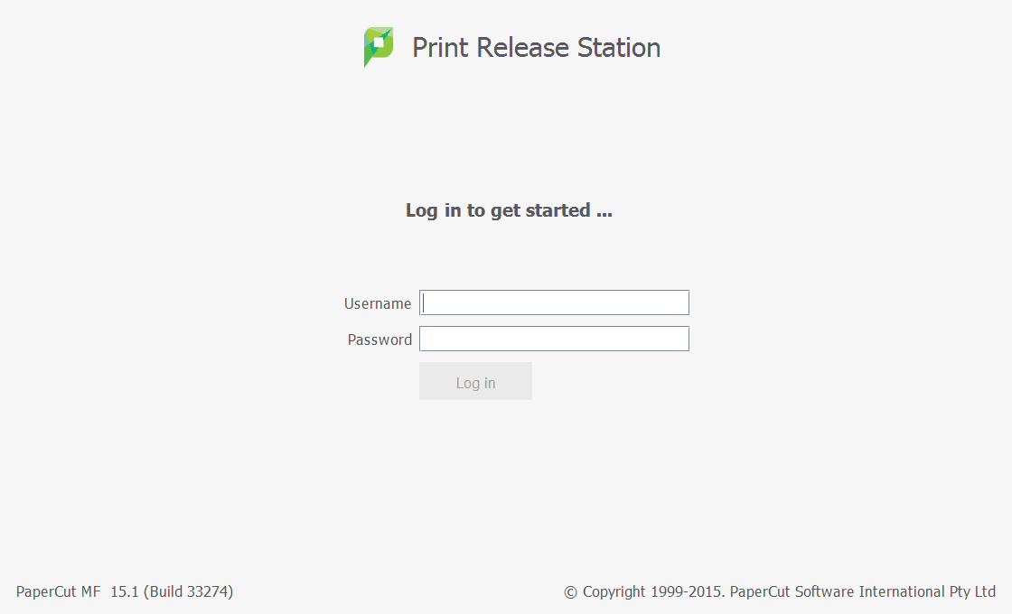 The PaperCut Print Release Station login interface