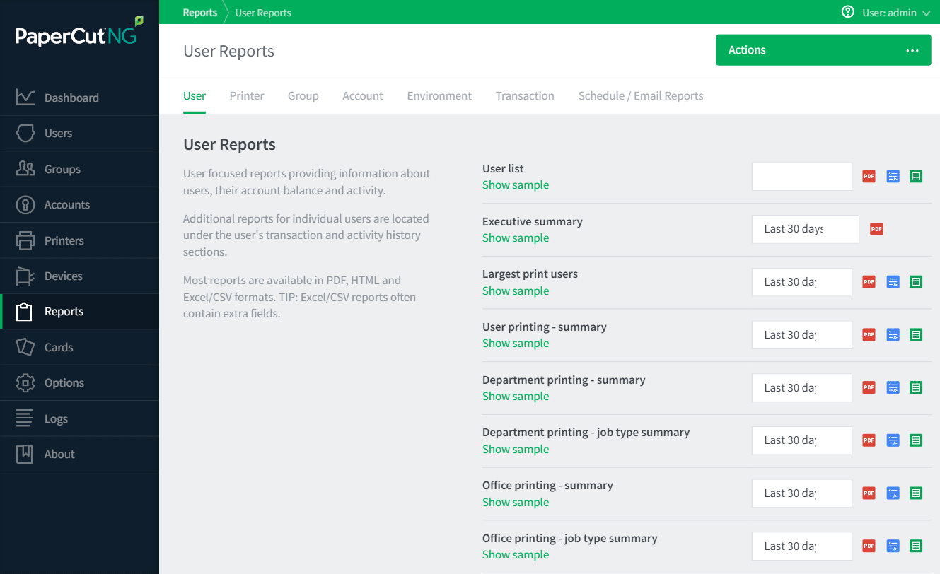 Reports tab showing some of the available user reports