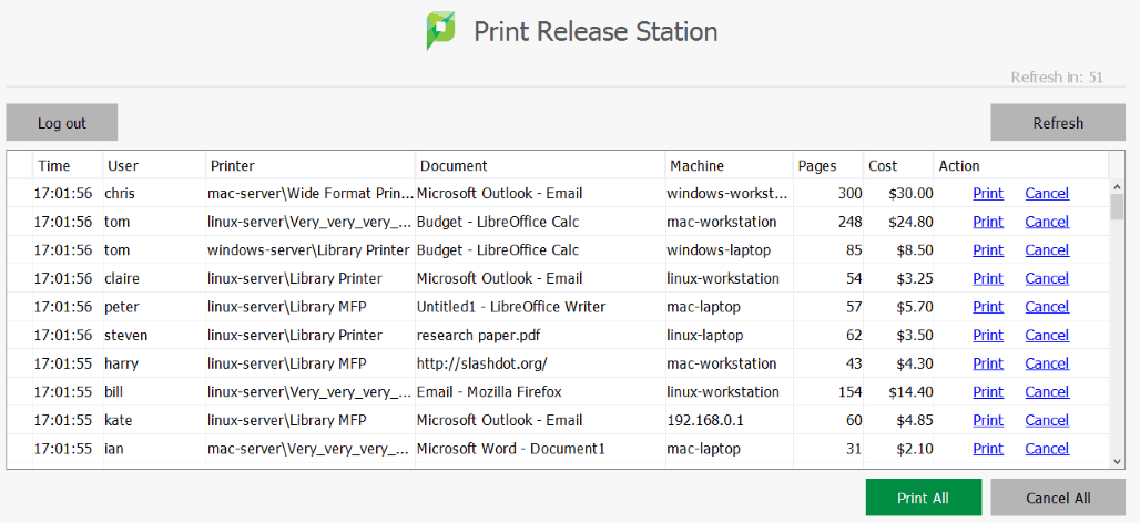 Secure print release and find me printing in papercut mf print release station software reheart Image collections