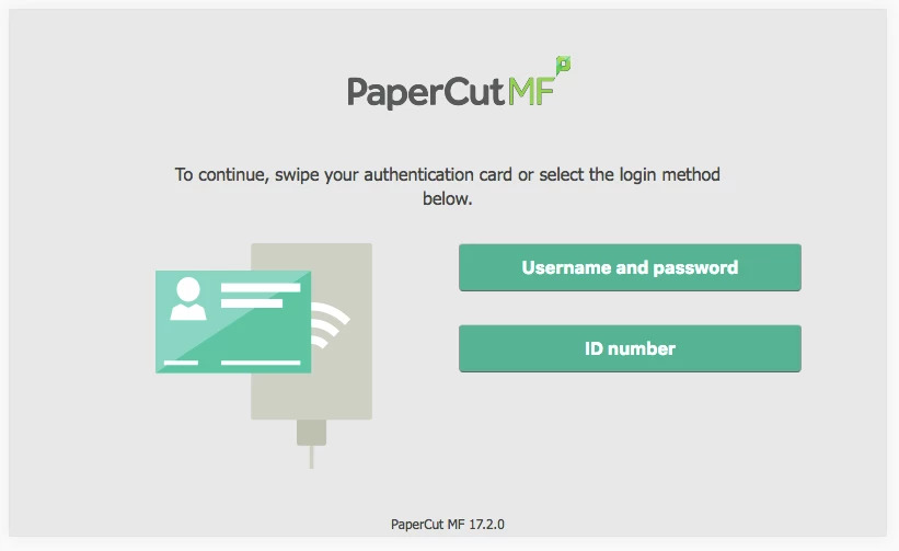PaperCut MF authentication screen